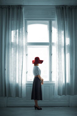 Ildiko Neer Retro woman standing at window