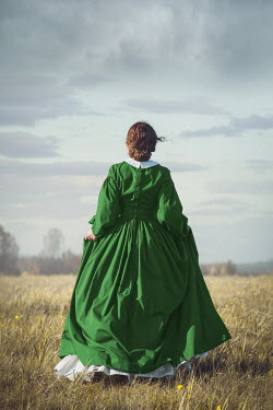 Joanna Czogala HISTORICAL BRUNETTE WOMAN WALKING IN FIELD Women