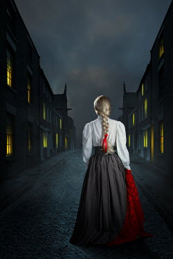 Magdalena Russocka historical woman with red shawl standing on victorian street at night