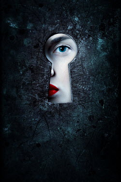 Magdalena Russocka woman eye looking through keyhole