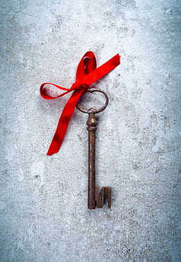 Magdalena Russocka old key with red ribbon from above