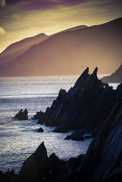 Vincent MacNamara SEA AND COASTLINE WITH ROCKS AT DUSK Seascapes/Beaches