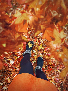 Emma Goulder FEMALE LEGS AND FEET WITH AUTUMN LEAVES Women
