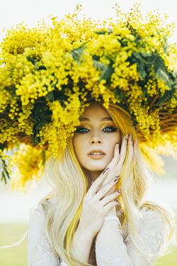 Jovana Rikalo BLONDE WOMAN WITH YELLOW FLOWERS ON HEAD Women