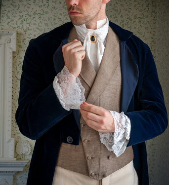 Lee Avison anonymous regency man adjusting his lacy sleeves