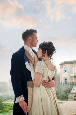 Lee Avison regency couple in the grounds of a country house