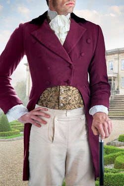 Lee Avison anonymous regency gentleman standing in the grounds of a country mansion