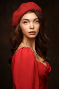 Alexander Vinogradov BRUNETTE WOMAN WITH RED DRESS AND BERET Women