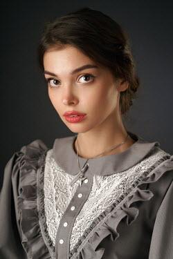 Alexander Vinogradov SERIOUS BRUNETTE WOMAN IN LACY DRESS Women