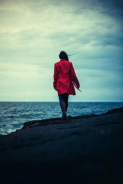 Marie Carr WOMAN WALKING ON CLIFFS BY WINDY SEA Women