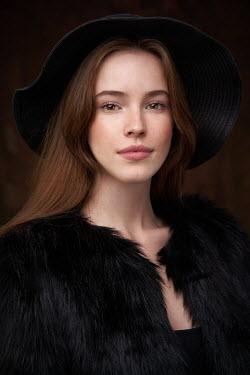Alexander Vinogradov BRUNETTE  WOMAN IN HAT AND FUR JACKET