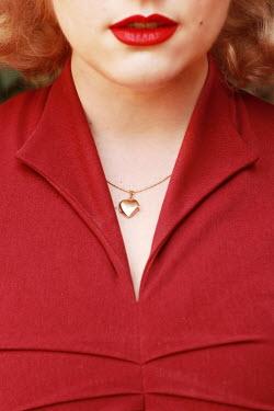 Jasenka Arbanas BLONDE WOMAN WITH RED LIPS DRESS AND LOCKET