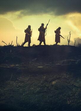 Mark Owen THREE WW1 SOLDIERS WALKING ON BATTLEFIELD