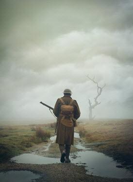 Mark Owen WW1 SOLDIER WALKNG IN FIELD WITH PUDDLES