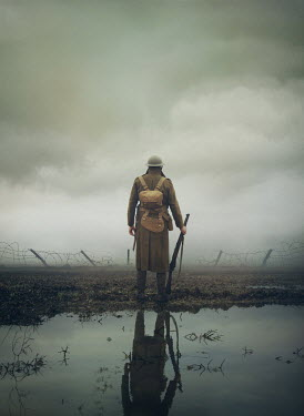 Mark Owen WW1 SOLDIER IN FIELD WITH BARBED WIRE AND PUDDLES