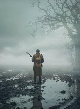 Mark Owen WWI SOLDIER IN MUDDY FIELD IN WINTER