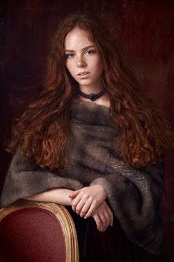 Alexander Vinogradov GIRL WITH RED HAIR CHOKER AND FUR WRAP