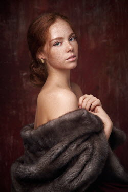 Alexander Vinogradov GIRL WITH RED HAIR AND FUR WRAP