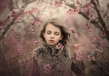 Sveta Butko LITTLE GIRL IN FUR COAT BY TREES IN BLOSSOM