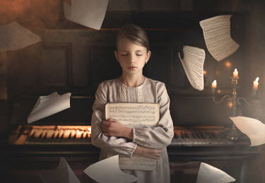 Sveta Butko GIRL BY PIANO AND CANDELABRA WITH FLYING MUSIC SHEETS