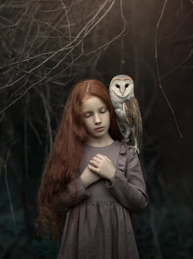 Sveta Butko LITTLE GIRL WITH OWL ON SHOULDER
