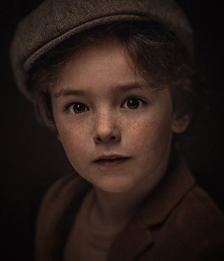 Sveta Butko RETRO LITTLE BOY WITH FRECKLES AND HAT