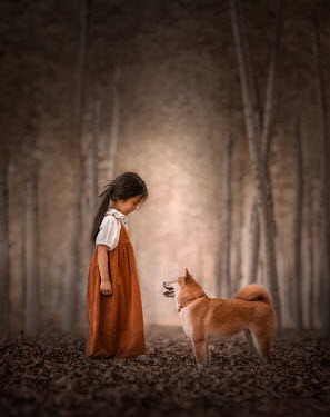 Sveta Butko LITTLE GIRL WITH DOG IN FOREST