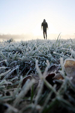 Tim Robinson DISTANT MAN IN FROSTY FIELD AT SUNRISE