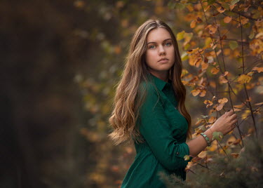 Lisa Holloway YOUNG GIRL WITH LONG HAIR IN AUTUMN COUNTRYSIDE