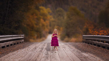 Lisa Holloway BLONDE LITTLE GIRL ON BRIDGE IN AUTUMN