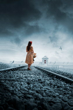 Stephen Mulcahey WOMAN ON RAILWAY TRACKS BY WARTIME PRISON CAMP
