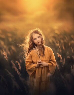 Sveta Butko SERIOUS LITTLE GIRL STANDING IN GOLDEN FIELD
