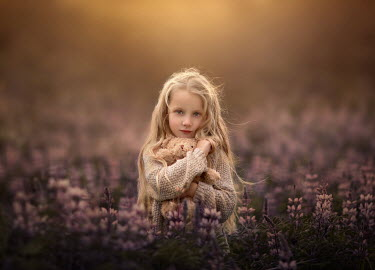 Sveta Butko LITTLE BLONDE GIRL WITH TEDDY IN LAVENDER FIELD