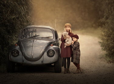 Sveta Butko TWO YOUNG GIRLS WITH DOG BY CAR ON ROAD