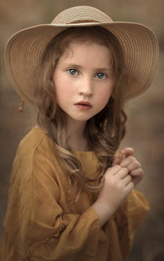 Sveta Butko SERIOUS LITTLE GIRL IN STRAW HAT