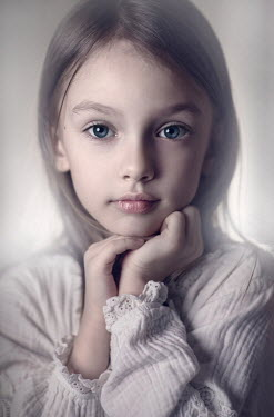 Sveta Butko SERIOUS BLONDE LITTLE GIRL IN WHITE DRESS