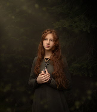 Sveta Butko GIRL WITH RED HAIR AND KEY HANGING AROUND NECK