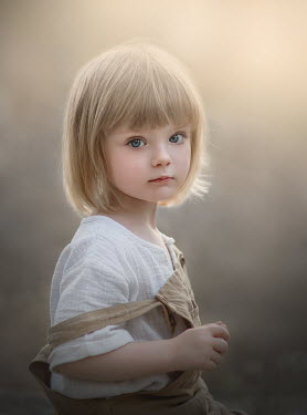 Sveta Butko CUTE LITTLE BLONDE GIRL IN DUNGAREES