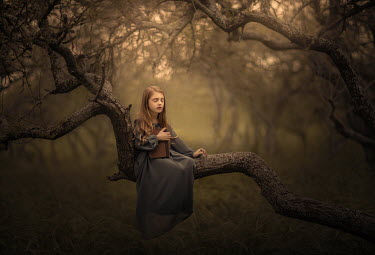 Sveta Butko DREAMY GIRL HOLDING BOOK SITTING ON BRANCH