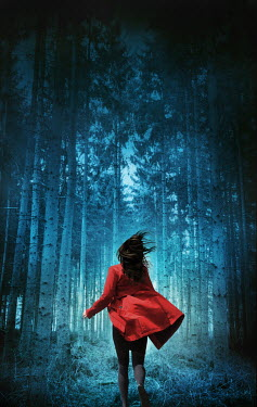 Silas Manhood WOMAN IN RED COAT RUNNING IN FOREST