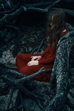 Natasza Fiedotjew woman in red dress sitting among roots of pine tree