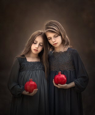 Sveta Butko TWO DREAMY YOUNG GIRLS HOLDING POMEGRANATES