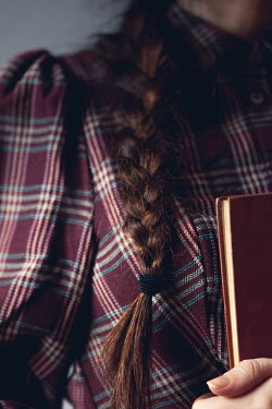 Marie Carr GIRL WITH BROWN PLAIT HOLDING BOOK
