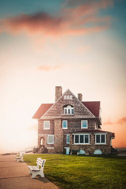 Evelina Kremsdorf COASTAL HOUSE WITH PATHWAY AT SUNSET