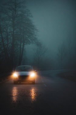 Evelina Kremsdorf CAR AND HEADLIGHTS ON COUNTRY ROAD AT DUSK