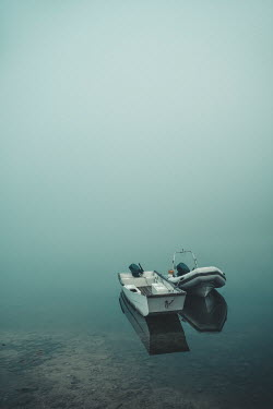 Evelina Kremsdorf TWO SMALL BOATS ON FOGGY WATER