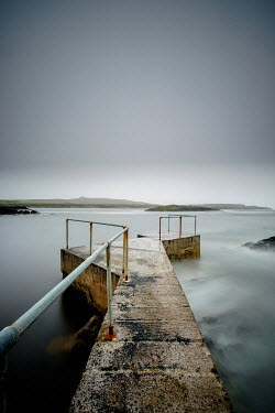 Vincent MacNamara STONE JETTY AND RAILINGS WITH MISTY SEA