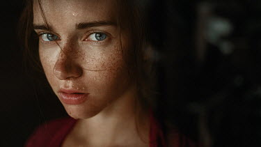 Georgy Chernyadyev SERIOUS GIRL WITH FRECKLES AND WET FACE