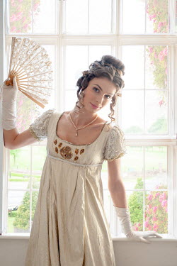 Lee Avison regency woman at the window holding a fan