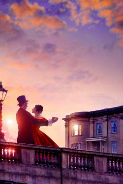 Lee Avison victorian couple dancing on the terrace at sunset